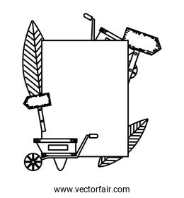 line emblem with watering can and handcart decoration