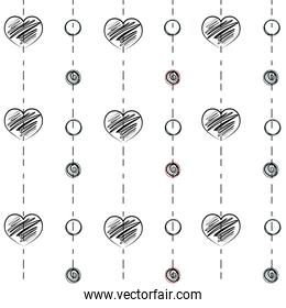 line heart and circle hand drawn shape background