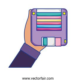 man hand with retro diskette object