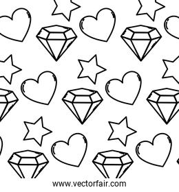 line brillant star with diamond and heart background