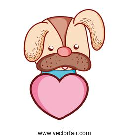 cute dog pet animal with heart