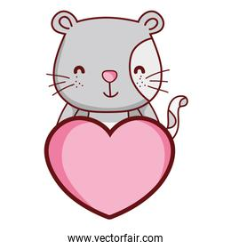 cute mouse wild animal with heart