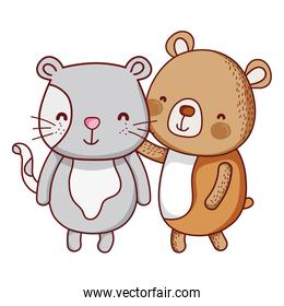 mouse and bear cute friends animal