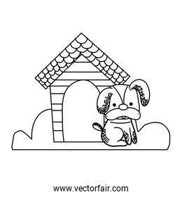 line cute dog pet animal with house