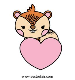 color cute chipmunk wild animal with heart