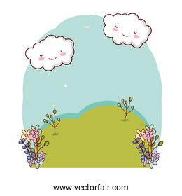 kawaii clouds weather with flowers landscape