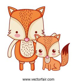 fox father with his child cute animal