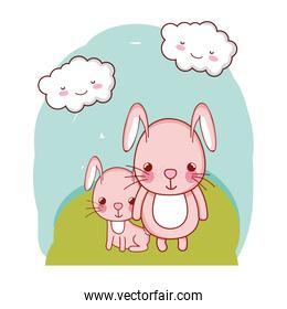 rabbit father with his cute child in the landscape