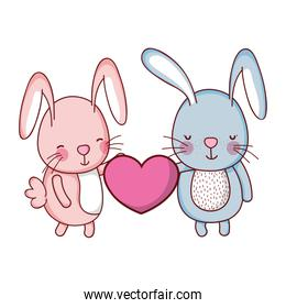 couple rabbit with cute heart in their hands
