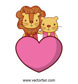 couple lion together with cute heart