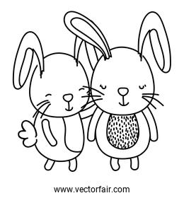 line couple rabbit together cute animal