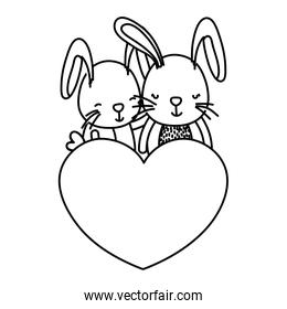 line couple rabbit together with cute heart