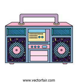 color retro radio object to music technology