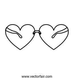 line glasses object with heart frame style