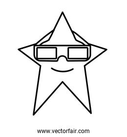 line kawaii star with 3d glasses style