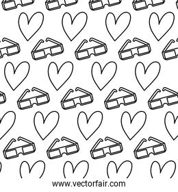line 3d glasses and heart symbol background