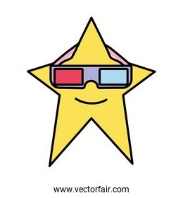 color kawaii star with 3d glasses style