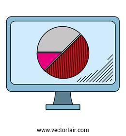 electronic computer with graphic statistics diagram