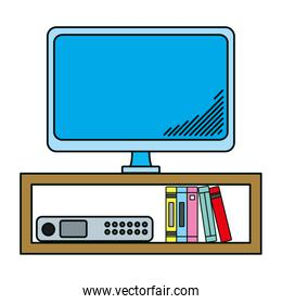 electronic television technology in the desk with books