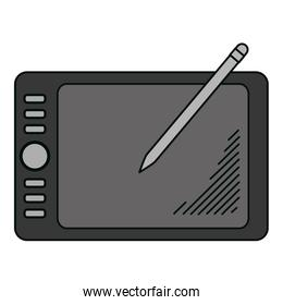 electronic graphic tablet with digital pen