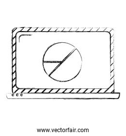 grunge electronic laptop with graphic statistics diagram