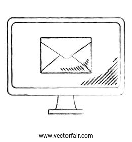 grunge computer technology with electronic e-mail service