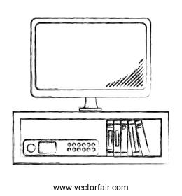 grunge electronic television technology in the desk with books