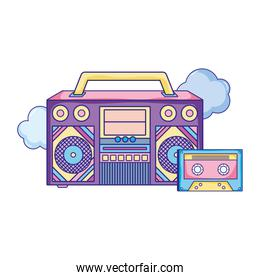 retro radio technology with cassette and clouds