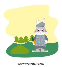 rabbit animal with clothes and carrot in the landscape