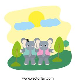 couple elephant with hat and vest in the landscape