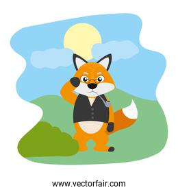 fox animal with glasses and vest in the landscape