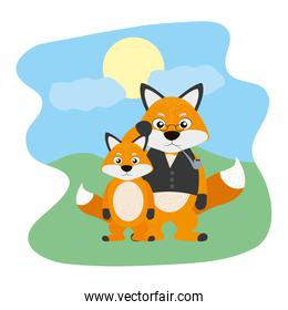 fox animal with glasses and his son in the landscape