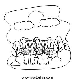 line couple elephant with hat and vest in the landscape