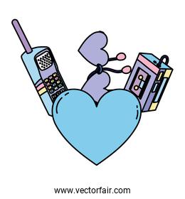 color heart with walkman music player and telephone