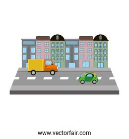 city building with urban trucks in the street