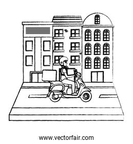 grunge building and delivery man with motorcycle in the street