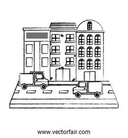 grunge city building and trucks transport in the street