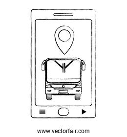 grunge smartphone with front bus and location symbol