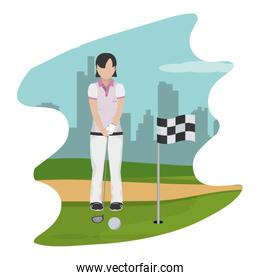woman with uniform playing golf sport