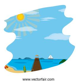 beach ship with surfboard and spring weather