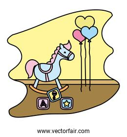 color rocking horse and cubes toys with balloos in the bedroom