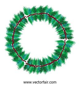 circle natural tropical leaves style
