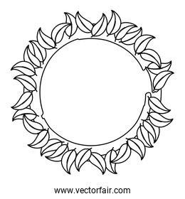 line circle natural plant with tropical leaves