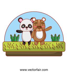 panda and bear friends animal in the countryside