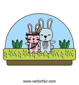 color couple rabbit animal together in the countryside