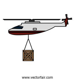 helicopter transport with wood box hanging