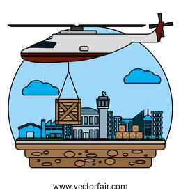helicopter transport with wood box delivery