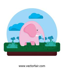 adorable elephant wild animal in the landscape