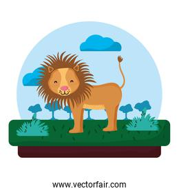 adorable lion wild animal in the landscape