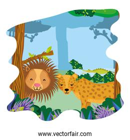 adorable lion and leopard friends animals in the forest